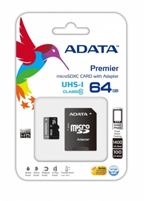 Attēls no ADATA Premier UHS-I 64 GB, MicroSDXC, Flash memory class 10, SD adapter