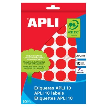 Изображение APLI Apaļas uzlīmes   ar diametru 10mm, 8 loksnes, 1008 uzlīmes, sarkanas
