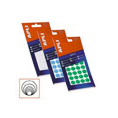 Изображение APLI Apaļas uzlīmes   ar diametru 10mm, 8 loksnes, 1008 uzlīmes, zilas