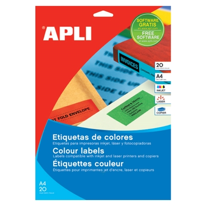 Изображение APLI Uzlīmes   ILC ar izmēru 210x297mm, 20 loksnes/20 uzlīmes zaļas