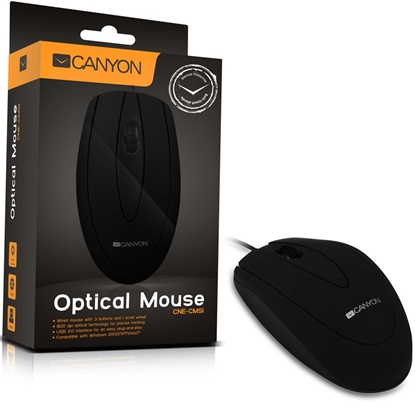 Picture of CANYON   Mouse CNE-CMS1 (Wired, Optical 800 dpi, 3 btn, USB), Black