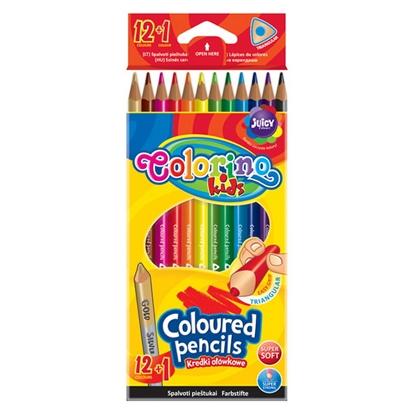 Изображение COLORINO Trīskrāsu zīmuļi   Kids 12+1 krāsas, zelta/sudraba