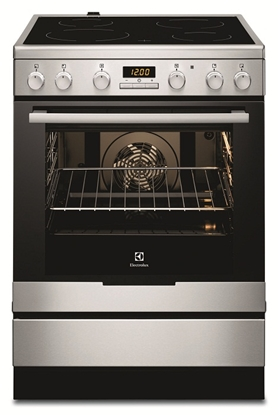 Attēls no Electrolux Cooker EKC6430AOX Integrated timer, Hob type Vitroceramic, Oven type Electric, Stainless steel, Width 60 cm, Electronic ignition, Grilling, 72  L, Depth 60 cm