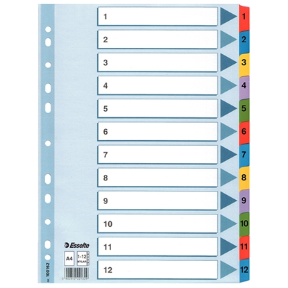 Attēls no ESSELTE Sadalītājs dokumentiem   A4, 1-12 kartona ar krāsainiem cipariem