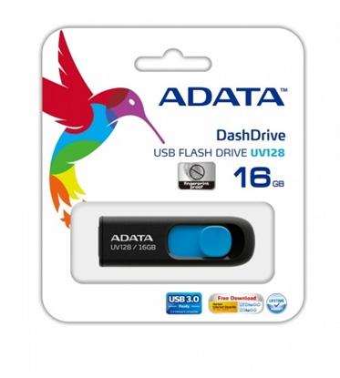 Attēls no ADATA DashDrive UV128 16GB 16GB USB 3.0 (3.1 Gen 1) Type-A Black,Blue USB flash drive
