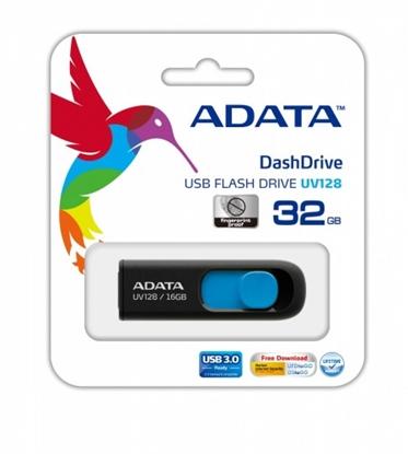 Attēls no ADATA DashDrive UV128 32GB 32GB USB 3.0 (3.1 Gen 1) Type-A Black,Blue USB flash drive
