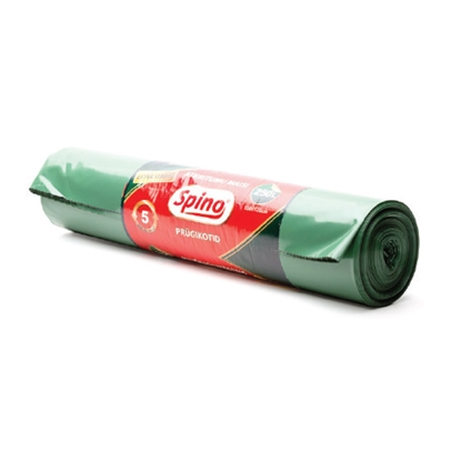 Изображение MULTIPACK Atkritumu maisi SPINO, tilpums 150 L, 5 gab., 60mkr, LDPE, 75 x 115 cm, tumši zaļā krāsā