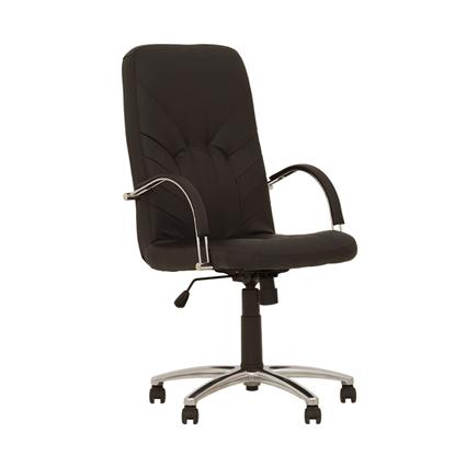 Изображение NOWY STYL Biroja krēsls   MANAGER STEEL Chrome ECO30 melnas ādas imitācija