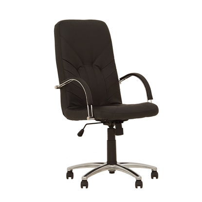Изображение NOWY STYL Biroja krēsls   MANAGER STEEL Chrome RD1 melnas ādas imitācija