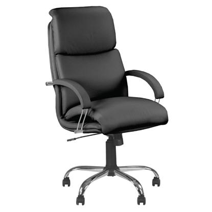 Attēls no NOWY STYL Biroja krēsls   NADIR STEEL Chrome (comfort), melna āda SP-A