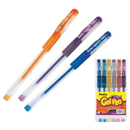 Attēls no PATIO Gela pildspalva   GLITTER 1.0 mm, 6 krāsu komplekts
