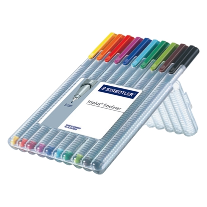 Изображение STAEDTLER Pildspalvu komplekts   TRIPLUS fineliner, 0.3mm, 10 krāsas