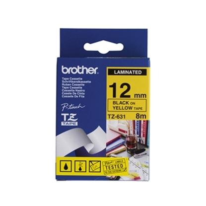 Изображение Brother TZe-631 Laminated Tape Black on Yellow, TZe, 8 m, 1.2 cm