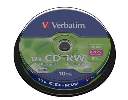 Attēls no 1x10 Verbatim CD-RW 80 / 700MB 10x Speed, Cakebox