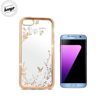 Изображение Beeyo Glamour Sērijas Secret Garden TPU Caurspīdīgs aimugures maks-apvalks priekš Samsung G935F Galaxy S7 Edge ar Zelta rāmīti