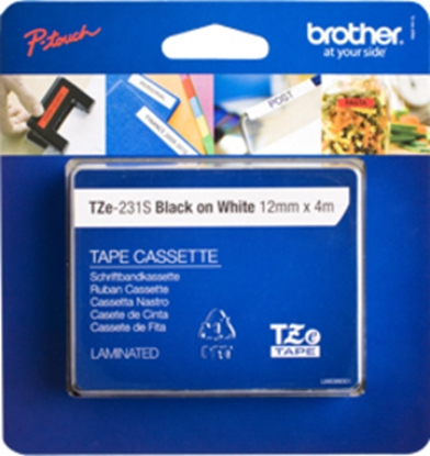 Attēls no Brother TZE-231S Black on white TZe label-making tape
