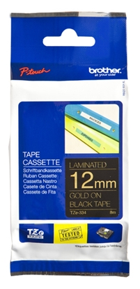 Изображение Brother TZe-334 Laminated tape Gold on Black, TZe, 8 m, 1.2 cm
