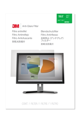"Attēls no 3M AG190C4B Anti-Glare Filter for Standard Monitor 19"" Clear, 377 x 302 mm"