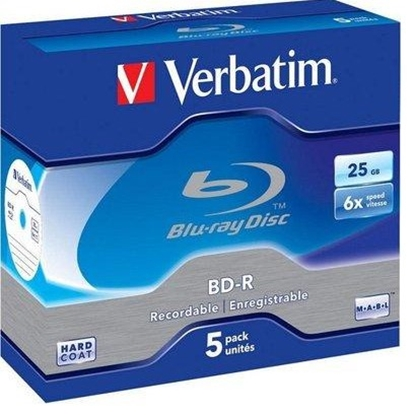 Изображение 1x5 Verbatim BD-R Blu-Ray 25GB 6x Speed Datalife No-ID Jewel