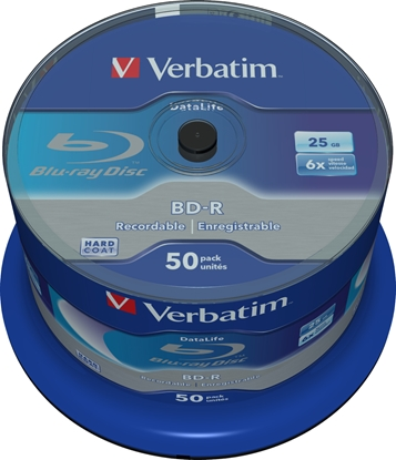 Picture of 1x50 Verbatim BD-R Blu-Ray 25GB 6x Speed Datalife No-ID Cakebox