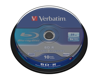 Picture of 1x10 Verbatim BD-R Blu-Ray 25GB 6x Speed, white blue Cakebox