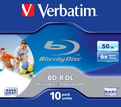 Picture of 1x10 Verbatim BD-R Blu-Ray 50GB 6x Speed printable Jewel Case