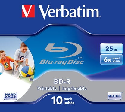 Picture of 1x10 Verbatim BD-R Blu-Ray 25GB 6x Speed, printable, Jewel Case