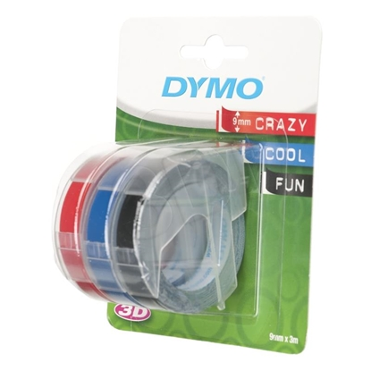 Picture of 3x1 Dymo Embossing Labels Multi-Pack 9mm (red/blue/black)
