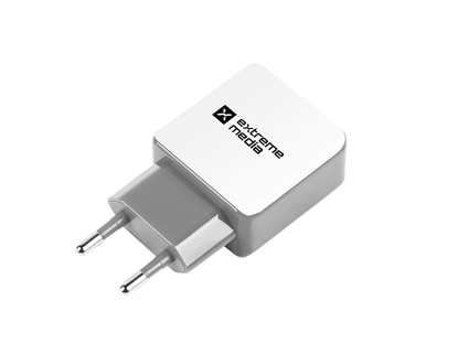 Attēls no Natec Extreme Media Universal USB Charger 230V->USB 5V2F22C1A2C 2 port2C white-grey