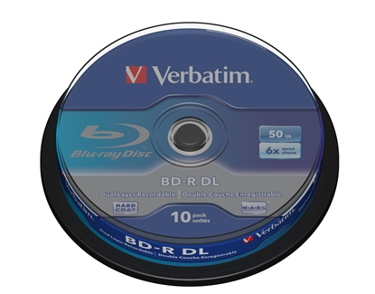 Picture of 1x10 Verbatim BD-R Blu-Ray 50GB 6x Speed, white blue Cakebox