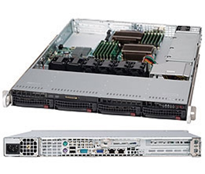 "Attēls no 1U, 600W PS (Platinum Level), 4x 3.5"" Hot-swap HDD bays, WIO"