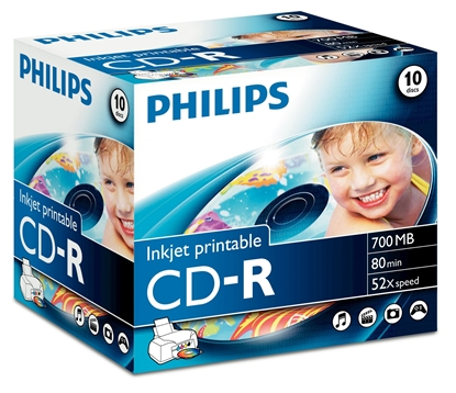Picture of 1x10 Philips CD-R 80Min 700MB 52x IW JC