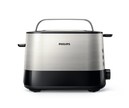 Attēls no Philips Viva Collection Toaster HD2637/90 Extra wide 2 slots toaster Built in bun warmer Black