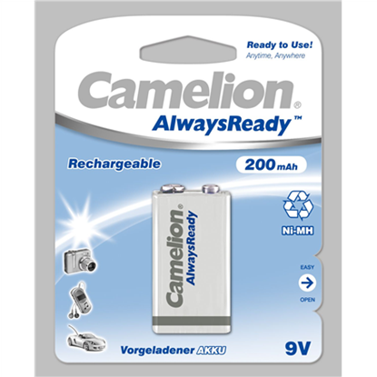 Attēls no Camelion 9V/6HR61, 200 mAh, AlwaysReady Rechargeable Batteries Ni-MH, 1 pc(s)