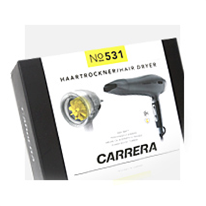 Attēls no Carrera 531 Ionic Hairdryer  Warranty 36 month(s), Ionic function, Motor type Power boost: durable DC motor with titanium and ceramic coating and AC turbine, 2400 W, Silver/Black