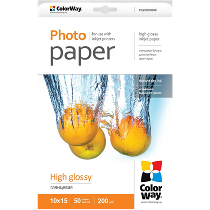 Picture of ColorWay High Glossy Photo Paper, 50 sheets, 10x15, 200 g/m²