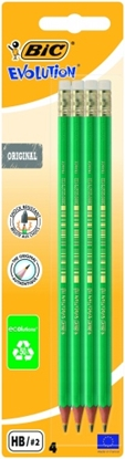 Изображение BIC pencils EVOLUTION ORIGINAL with eraser, HB, Pouch 4 pcs 049012