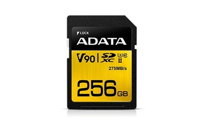 Attēls no ADATA 256GB Premier ONE SDXC UHS-II U3 Class 10, R/W up to 275/155 MB/s