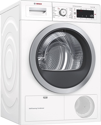 Attēls no Bosch Dryer mashine WTW8758LSN Condensed, 8 kg, Energy efficiency class A++, Number of programs 12, Self-cleaning, White, Depth 60 cm, LED,
