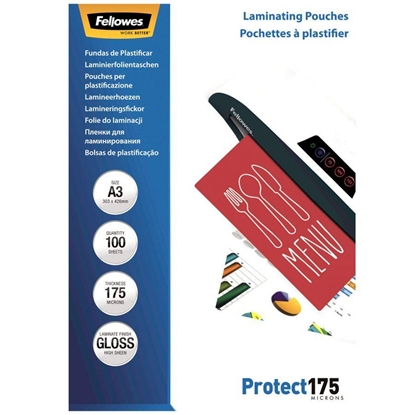 Изображение Fellowes A4 Glossy 175 Micron Laminating Pouch - 100 pack