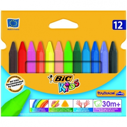 Attēls no BIC Wax Crayons Plastidecor Triangle Box 12, 000789