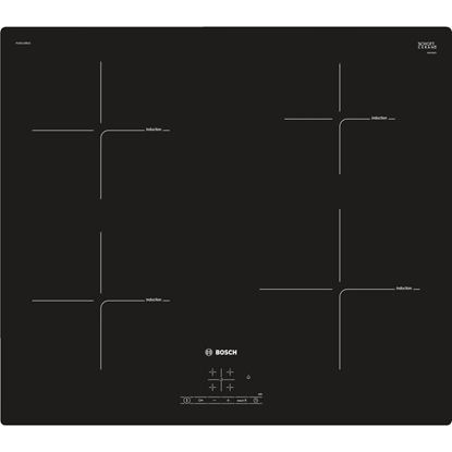Изображение Bosch Hob PUE611BB1E Induction, Number of burners/cooking zones 4, Black, Display, Timer