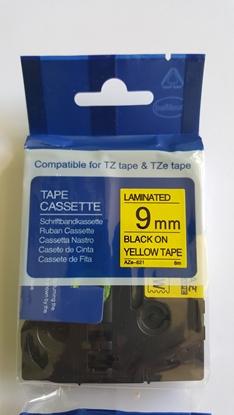Attēls no BROTHER AZe-621 uzlīmju lenta melns uz dzeltena 9mm