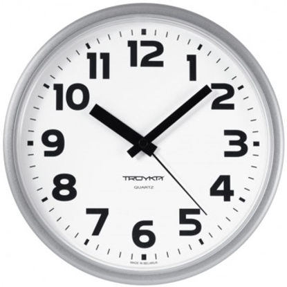 Изображение 91970945 Troyka Sienas pulkstenis TROYKA, ar diametru 24 cm, balts baltā