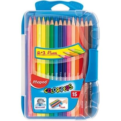 Изображение Krāsu zīmuļi Maped Color`Peps 15-krāsas plast.kastē