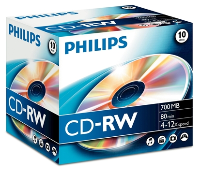 Picture of 1x10 Philips CD-RW 80Min 700MB 4-12x JC