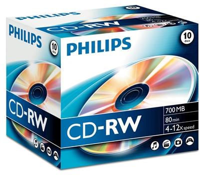 Attēls no 1x10 Philips CD-RW 80Min 700MB 4-12x JC