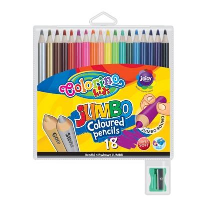 Изображение COLORINO Krāsainie zīmuļi   KIDS JUMBO 18 krāsas, apaļi, komplektā asināmais