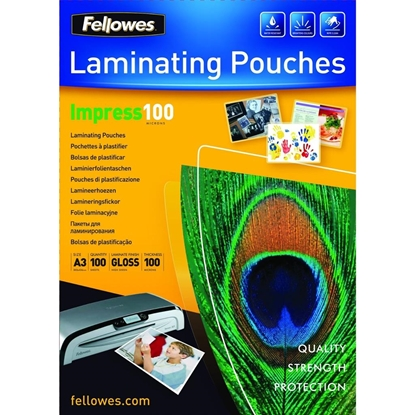 Изображение Fellowes A3 Glossy 100 Micron Laminating Pouch  100-pack