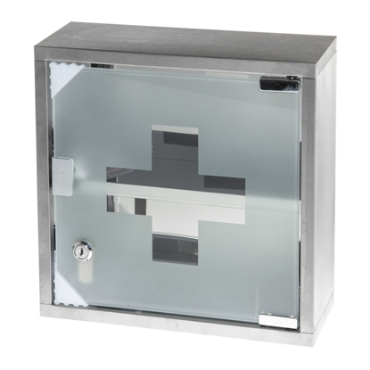 Изображение NO BRAND Aptieciņa no metāla, ar stikla durtiņām, 300 x 120 x 300 mm, pelēkā krāsa